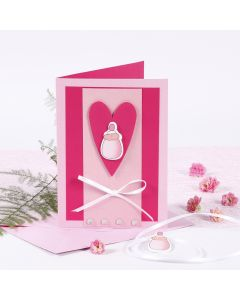 Pinkki ristiäiskortti