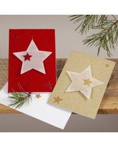 Kimaltavat joulukortit kuultopaperitähdillä