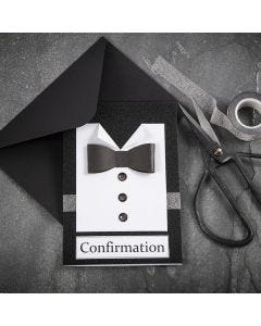 Mustavalkoinen kortti, paidalla ja rusetilla