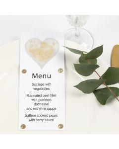Kimaltavalla kuultopaperi sydämellä koristeltu menu