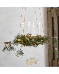 Roikkuva joulukranssi kynttiläpidikkeillä, bonsailangalla ja nahkapaperikoristeilla