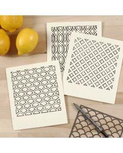Tekstiilitusseilla koristeltu tiskirätti