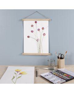 Vesiväreillä maalattu kukkajuliste