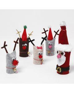 Joulupukki ja poro kierrätetystä pahviputkesta