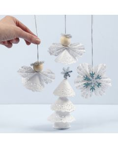 Joulukoristeita kakkupaperista