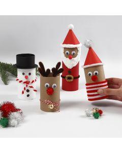 Jouluhahmoja pahvirullista ja koristeista.