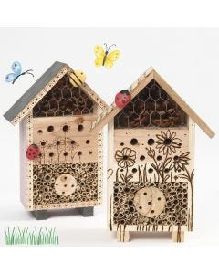 Hyönteishotelli tai ötököiden B&B, joka on koristeltu polttokolvilla ja maalatuilla kivillä
