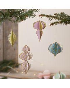 3D joulupallot käsintehdystä paperista