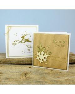 Poro- ja lumihiutaleaiheiset joulukortit