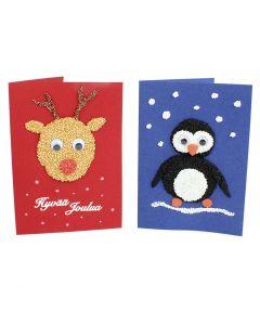 Joulukortteja helmimassoilla