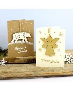 Puukoristeet joulukorteissa