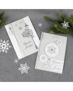 Kimaltavat hopeiset joulukortit