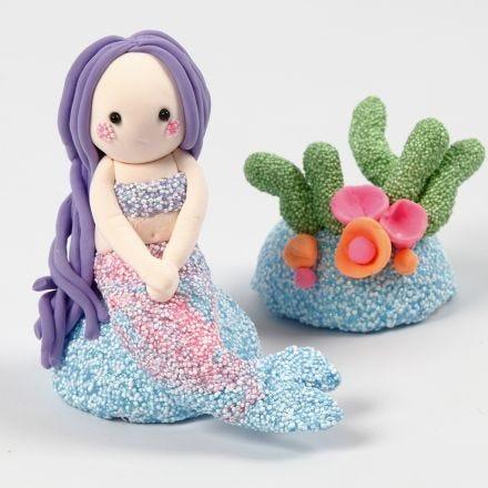 Merenneito ja koralliriutta Foam Clay:sta ja Silk Clay:sta