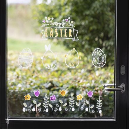 Easter Window decorations using chalk markers