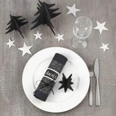 Musta-hopeinen joulupöytä