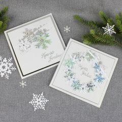 Kimaltavat lumihiutalekortit
