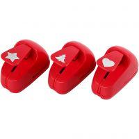 Kuviolävistäjät, tähti, sydän, kuusi, koko 16 mm, punainen, 1 set