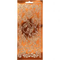 Ääriviivatarra, Ornamentit, 10x23 cm, kulta, 1 ark
