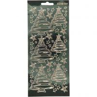 Ääriviivatarra, Joulukuuset, 10x23 cm, kulta, 1 ark