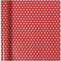 Lahjapaperi, rumpu, Lev: 70 cm, 80 g, punainen, valkoinen, 4 m/ 1 rll