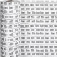 Lahjapaperi, kylpylä, Lev: 57 cm, 80 g, musta, valkoinen, 150 m/ 1 rll