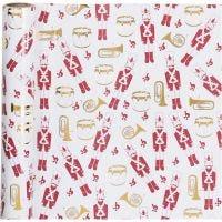 Lahjapaperi, pähkinänsärkijä, Lev: 70 cm, 80 g, kulta, punainen, valkoinen, 2 m/ 1 rll