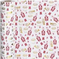 Lahjapaperi, pähkinänsärkijä, Lev: 57 cm, 80 g, kulta, punainen, valkoinen, 75 m/ 1 rll