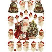 Kiiltokuvat, pukki ja joulukellot, 16,5x23,5 cm, 3 ark/ 1 pkk