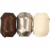 Lahjanauha, Lev: 10 mm, ruskea, metallikulta, vaalea natural, 3x10 m/ 1 pkk