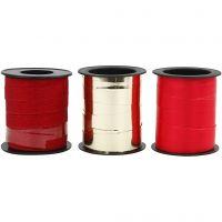 Lahjanauha, Lev: 10 mm, kulta, punainen, glitter punainen, 3x15 m/ 1 pkk