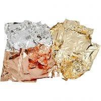 Lehtimetallijäljitelmä, 16x16 cm, kuparin, kulta, hopea, 3x50 ark/ 1 pkk