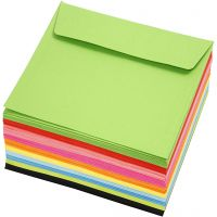 Kirjekuori, eko, neliö, kirjekuoren koko 16x16 cm, 80 g, värilajitelma, 10x10 kpl/ 1 pkk
