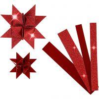 Paperisuikaleet, Pit. 44+78 cm, halk. 6,5+11,5 cm, Lev: 15+25 mm, kimalle,lakka, punainen, 40 suikaleet/ 1 pkk