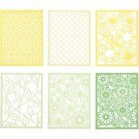 Pitsikartongit, A6, 104x146 mm, 200 g, vihreä, vaaleanvihreä, keltainen, vaaleankeltainen, 24 kpl/ 1 pkk
