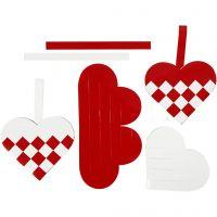 Punotut sydämet, koko 13,5x12,5 cm, punainen, valkoinen, 8 set/ 1 pkk
