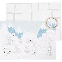 Joulukalenteri, koko 30x42 cm, valkoinen, 3 kpl/ 1 pkk
