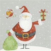 Servietit, Joulupukki ja lahjapussi, koko 33x33 cm, 20 kpl/ 1 pkk