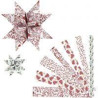 Paperisuikaleet, Pit. 44+78 cm, Lev: 15+25 mm, halk. 6,5+11,5 cm, punainen, valkoinen, 48 suikaleet/ 1 pkk