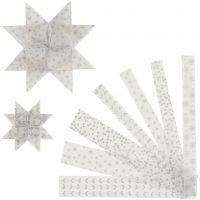 Paperisuikaleet, Pit. 44+78 cm, halk. 6,5+11,5 cm, Lev: 15+25 mm, hopea, valkoinen, 48 suikaleet/ 1 pkk