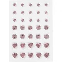 Akryylitimantit, pyöreä, neliö, sydän, koko 6+8+10 mm, rosa, 35 kpl/ 1 pkk