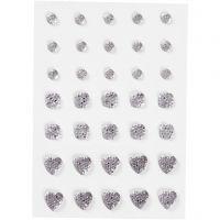 Akryylitimantit, pyöreä, neliö, sydän, koko 6+8+10 mm, hopea, 35 kpl/ 1 pkk