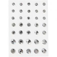 Akryylitimantit, pyöreä kartio, koko 6+8+10 mm, hopea, 35 kpl/ 1 pkk