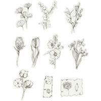 Kuvioteippitarrat, mustat/valkoiset kukat, koko 30-50 mm, 30 kpl/ 1 pkk