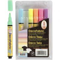 Deco tekstiilitussit, paksuus 3 mm, neonvärit, 6 kpl/ 1 pkk