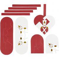 Punotut sydämet, koko 12,5x11,5 cm, kulta, punainen, valkoinen, 8 set/ 1 pkk