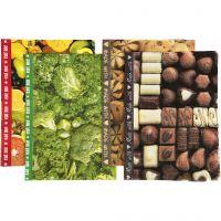 Decoupagepaperi, 25x35 cm, 17 g, ruskea, vihreä, keltainen, 8 laj/ 1 pkk