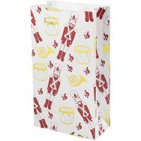 Paperipussi, pähkinänsärkijä, Kork. 21 cm, koko 6x12 cm, kulta, punainen, valkoinen, 8 kpl/ 1 pkk