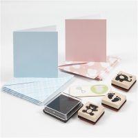 Korttimateriaalipakkaus, vaaleansininen, vaaleanpunainen, 1 set