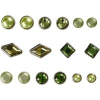 Koristeniitit, koko 8-18 mm, vihreä, 16 kpl/ 1 pkk