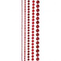 Helmenpuolikkaat, koko 2-8 mm, punainen, 140 kpl/ 1 pkk